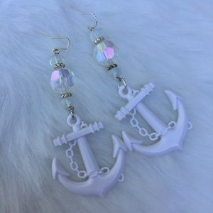 White anchor earrings ab crystal beach mermaid